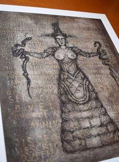 Serpent Goddess PencilBlack Digital print Premium Satin | Etsy #serpentgoddess #ancientgreece #crete Thanks For The Gift, Minoan, Ancient Greece, Crete, Paper Size, Occult, Giclee Print, Digital Prints, Vintage World Maps