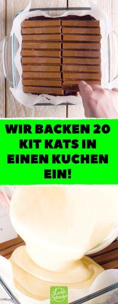Wir backen 20 Kit Kats in einen Kuchen ein! In diesem cremigen Kuchen findet sich ganz viel Schokolade! #kuchen #rezepte #schokolade #kakao #kitkat #frischkäse #kaffee