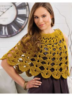 Crochet - Accessory Patterns - Ponchos, Shrugs, Shawls & Wraps - Baroque Shoulder Wrap byBaroque Shoulder Wrap by Lori Baker. Crochet wrap or shawl. Crochet Comfort & Joy Saved to Evernote/ iBooksHave a look at our wide selection of women's vest alon Crochet Poncho Patterns, Crochet Shawls And Wraps, Crochet Jacket, Crochet Cardigan, Knitted Shawls, Crochet Scarves, Crochet Clothes, Knit Crochet, Crochet Capelet Pattern