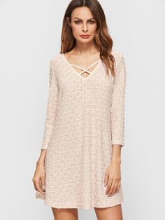 Shein's Apricot Criss Cross Front V Neck Textured Dress  So cute!
