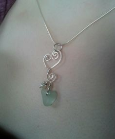 Sterling and Sea Glass Heart Necklace by MadeByTheBaySeaGlass, $40.00