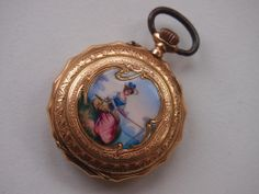 """Damentaschenuhr- feine Emailarbeit """" Anglerin"""" - 585er Rotgold  - um 1900"""