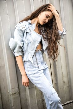 Vintage denim suit ⚡️ Favourite biker look with studs and zips. Light soft grunge look with beachy waves and denim jacket. Grunge Look, Soft Grunge, Denim Suit, Beachy Waves, Vintage Denim, Biker, Studs, Jackets, Shopping