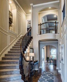 Modern Staircase Design Ideas - Browse photos of modern stairs and also find des. - Home Design Villa Plan, Grand Staircase, Staircase Design, Curved Staircase, Modern Stairs, Foyer Decorating, Decorating Games, Interior Decorating, Deco Design