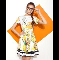 YELLOW FLORAL DRESS - projectMESS - Sukienki bombki