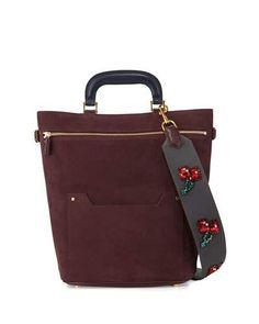 V32L1 Anya Hindmarch Orsett Medium Suede Cherry-Strap Tote Bag, Burgundy