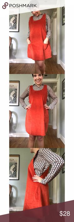 """ModCloth Really Strikes a Cord jumper Cute ModCloth jumper-- with pockets! It's a burnt orange color. It's cord but lightweight, so it could be multi-season. Unlined, no buttons or zippers (pullover). It's a generously-cut style, and there's wiggle room (you could also wear something bulkier under it). Worn twice, max. Excellent condition. Because of the way this is cut, measurements are somewhat approximate. Bust area: 14"""". Underarm to underarm: 16"""". Waist area: 18"""". The fit is designed to…"""
