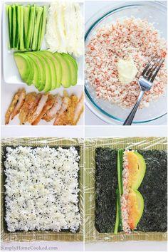 sushi roll with crispy fried shrimp tempura.California sushi roll with crispy fried shrimp tempura. Sushi Rice Recipes, Seafood Recipes, Healthy Recipes, Healthy Food, Shrimp Tempura Sushi, Fried Shrimp, Fried Sushi, Shrimp Sushi Rolls, California Roll Sushi