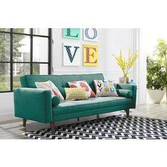 Novogratz Mid Century Vintage Green Linen Futon | Overstock.com Shopping - The Best Deals on Futons