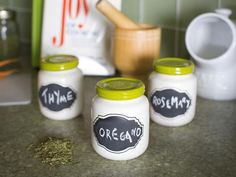 Spice Jars w/ Chalkboard Labels http://www.hgtv.com/kitchens/ideas-for-adding-dining-space-to-a-small-kitchen/pictures/page-10.html?soc=pinterest