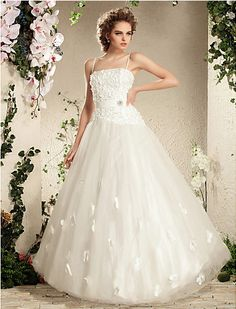Charming Ball Gown Spaghetti Straps Floor-length Tulle Wedding Dress Easebuy! Free Measurement!