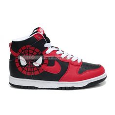 cartoon High Tops   Spiderman nike dunks high custom spider-man hightops nikes red black ...