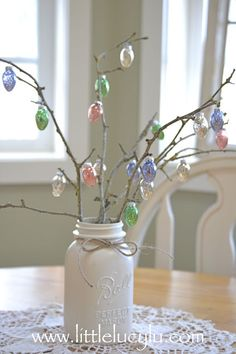 "Easter egg ""tree"" in a spray-painted mason jar...."