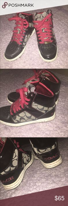 Coach high top sneakers🎅🏽 Coach high top sneakers Christmas edition 🎅🏽with satin red lining inside. Has a few signs of wear but other than what you see they are in mint condition 👌🏾 Coach Shoes Sneakers