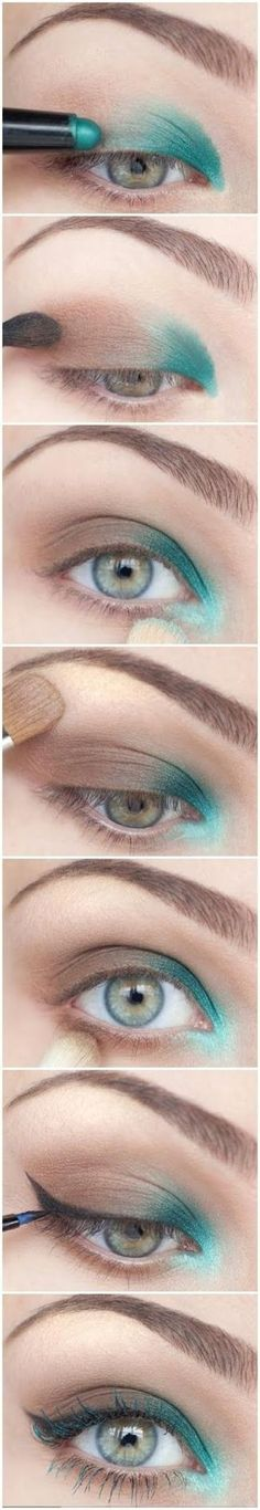Teal eye makeup tutorial @Kristen Lewist #tealeyeshadow