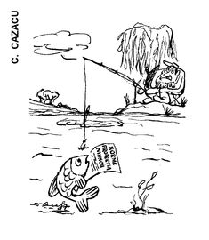 """NORME PROTECTIA MUNCII"".  Caricatura de C. CAZACU, publicata in almanahul PERPETUUM COMIC '97 editat de URZICA, revista de satira si umor din Romania"