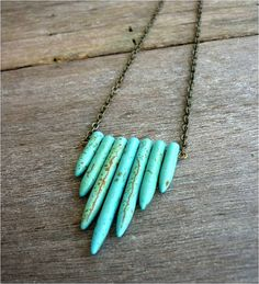 SPRING Jewelry - Turquoise Spikes Arrow Shield Statement Necklace
