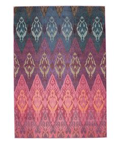 Pink & Blue Ikat Gradient Rug #zulily #zulilyfinds