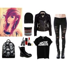 Rocker/Grunge by flyxawayxgrace on Polyvore featuring River Island, Tripp, Mi-Pac, Guerlain, Manic Panic and Burton  ///  I MADE THIS MYSELF! :D x3