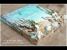 Such a Pretty Mess: Beach Canvas Video Tutorial {Shimmerz Paints & Dusty Attic Designs} can be a good journal cover Seashell Art, Seashell Crafts, Beach Crafts, Mixed Media Canvas, Mixed Media Art, Mixed Media Journal, Arte Bar, Art Plage, Attic Design