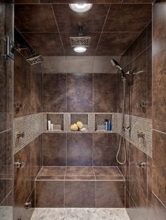 Luxury master bath walk-in shower.  Car wash for humans with good storagr