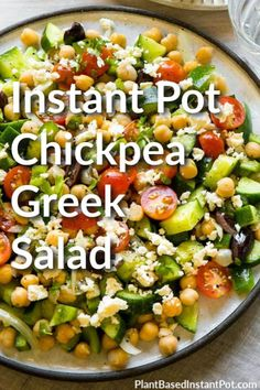 Wouldn't a salad be a perfect dinner? Use your electric pressure cooker for the power of good and keep your house cool at the same time. This Instant Pot Chickpea Greek Salad is fresh, filling, and vegan, plus you can make it ahead of time! #instantpotrecipes #veganrecipes