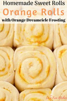 These Homemade Sweet Orange Rolls with Orange Dreamcicle Icing are ooey and gooey and so fun to make. They're bursting with orange flavor and smothered with a sweet and tangy dreamcicle orange frosting. It's a match made in heaven! Orange Cinnamon Rolls, Orange Sweet Rolls, Baking Recipes, Dessert Recipes, Pancake Recipes, Bread Recipes, Sweet Roll Recipe, Delicious Desserts, Yummy Food