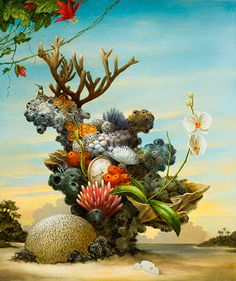 http://www.kevinsloan.com/images/2014/ancient_bouquet_lg.jpg - coral - still life - cantaloupe, landscape, beach, sand, clock, pocket watch, orchid