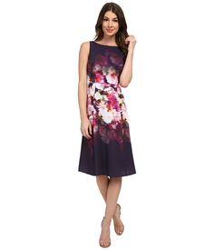 Adrianna Papell Midi Length Printed Fit & Flare Dress Purple Multi - 6pm.com
