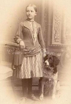 1800s German cabinet card photo. Pretty young girl with Brittany spaniel. #vintage