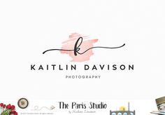 Hand Writing Monogram Watercolor Logo Design #photography #branding #wordpress