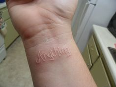 White tattoo this how I'm getting my kids name. In their handwriting from the first time they wrote their own names <3