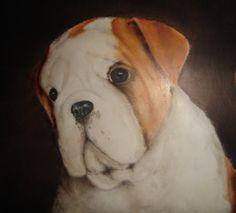 bulldogje geschilderd door leny tournois