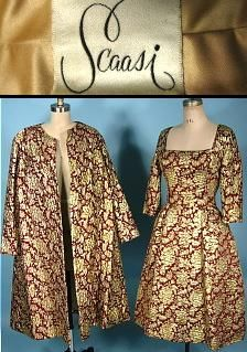 #6957- c. late 1950's/ early 1960's SCAASI Cranberry and Gold Metallic Brocade Dress with Matching Swing Coat! Question: What do all these women have in common? Jacqueline Kennedy, Barbara Bush, Hillary Clinton, and Laura Bush, Joan Crawford, Ivana Trump, Princess Yasmin Aga Khan, Lauren Bacall, Diahann Carroll, Elizabeth Taylor, Catherine Deneuve, Brooke Astor, and Mary Tyler Moore? All Scaasi clients! Wanna add your name to the list? Too bad you can't see this in person. You just have to t