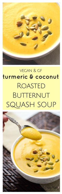 This smooth and creamy, vegan & gluten-free Turmeric & Coconut Roasted Butternut Squash Bisque is an antioxidant packed, anti-inflammatory one pot wonder the whole family will love! via @EmKyleNutrition