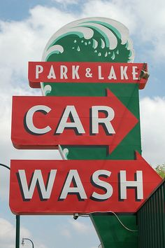 Park & Lake Car Wash sign in Minneapolis, Minnesota, USA Hudson Car, Park Rapids, Logos Retro, White Bear Lake, Lake Signs, Twin Cities, Car Detailing, Vintage Signs, Signage