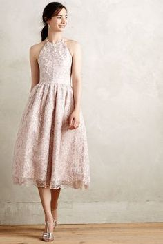 pink detailed a-line dress. dusty pink lace. beautifull.