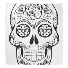 Skull Drawing With Black Ink In White Background Bandana