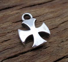 Small Artisan Sterling Silver Flaired Cross by VDIJewelryFindings