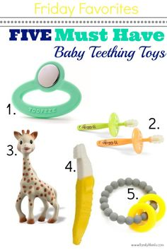 5 of the best baby Teething Toys on the market. Well I have 3 of the 5 I need to buy the other 2 lol