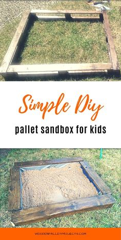 Learn how to make a DIY pallet sandbox. This easy tutorial will show you how to build one step by step. Cute idea for kids from upcyled pallets that is great for warm, sunny days in the garden.  #diypalletsandbox #upcyclingpallets  #palletprojectsforkids Upcycling Projects, Diy Pallet Projects, Pallet Ideas, Diy Craft Projects, Projects For Kids, Project Ideas, Crafts, Pallet Sandbox, Build A Sandbox
