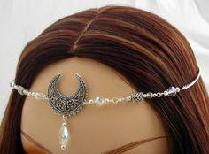New to DawnHillDesigns on Etsy: Elsbeth CUSTOM color TRIPLE Moon Lunar Goddess CIRCLET diadem tiara Crown 3170 (26.99 USD)