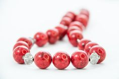 Chunky Red Coral Necklace Beaded Heavy Oversize by DevikaBox, $60.00