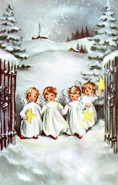 Vintage Christmas Card: Pretty Angels in the snow Vintage Christmas Images, Old Christmas, Old Fashioned Christmas, Christmas Scenes, Victorian Christmas, Retro Christmas, Christmas Pictures, Christmas Angels, Christmas Greetings