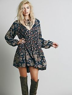 Lucky Loosey Shapeless Dress | Flowy, shapeless printed long-sleeve mini with a ruched elastic band under the bust. V-neck with closures that can be left open or tied. Lined.