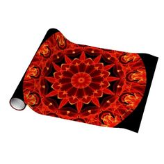 Orange Wheel of Fire Mandala, Abstract Lace Wrapping Paper unusual Christmas paper