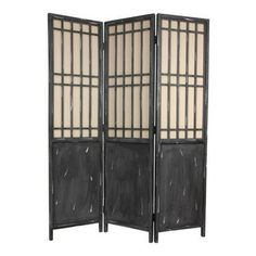 Oriental Furniture - 6 Ft. Tall Vintage Lattice Room Divider - Tall three-panel folding screen with a traditional Asian style lattice above ...