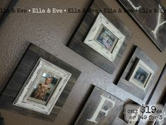 WOOD BLOCK FRAMES // $19ea or $49 for 3  This wood sign is stained in Kona w/ cream accents and distressed. Works perfect for our gallery wall; could also work behind your sofa, in a hallway, above hooks for kids jackets/backpacks etc.  4 x 6 and 5 x 7 frames; size varies  Comment with your email (or message us) to purchase!