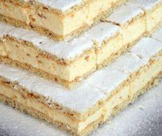 Túrókrémes szelet Receptek a Mindmegette. Sweet Recipes, Cake Recipes, My Recipes, Dessert Recipes, Hungarian Desserts, Hungarian Recipes, Helathy Food, Homemade Cakes, Diy Food