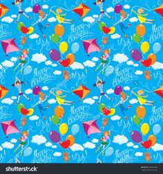 Seamless pattern with clouds, colorful balloons, kite and cute girls with teddy bears on sky blue background. Calligraphic text Happy Birthday, let`s party!